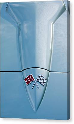 Chevy Coupe Canvas Print - 1966 Chevrolet Corvette Coupe Hood Emblem by Jill Reger
