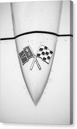 Sting Ray Canvas Print - 1966 Chevrolet Corvette Sting Ray Emblem -0036bw by Jill Reger