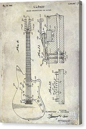 1966 Fender Guitar Patent Drawing  Canvas Print by Jon Neidert