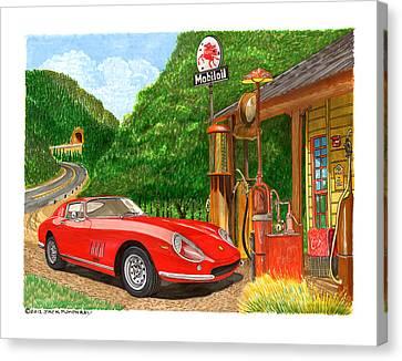 1966 Ferrari 275 G B T Getting Gas Canvas Print by Jack Pumphrey