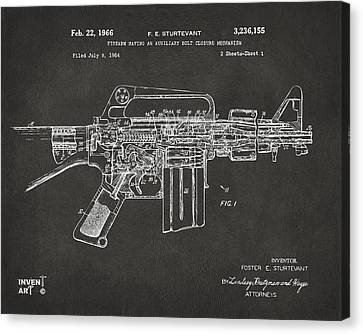 1966 M-16 Gun Patent Gray Canvas Print by Nikki Marie Smith