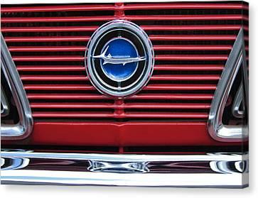 Plymouth Barracuda Canvas Print - 1966 Plymouth Barracuda - Cuda Grille Emblem by Jill Reger
