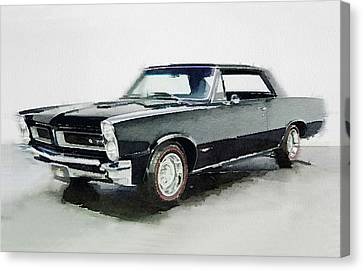 Pontiac Canvas Print - 1966 Pontiac Gto Watercolor by Naxart Studio