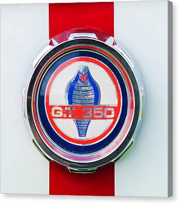 1966 Shelby Gt 350 Emblem Canvas Print by Jill Reger