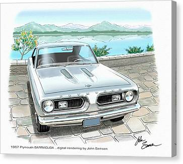 Virgil Canvas Print - 1967 Barracuda  Classic Plymouth Muscle Car Sketch Rendering by John Samsen