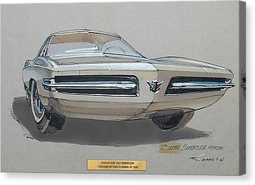 1967 Barracuda  Plymouth Vintage Styling Design Concept Rendering Sketch Fred Schimmel Canvas Print