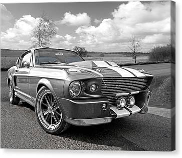 1967 Eleanor Mustang In Black And White Canvas Print by Gill Billington