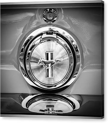 1967 Ford Mustang Gas Cap Emblem -0053bw Canvas Print by Jill Reger