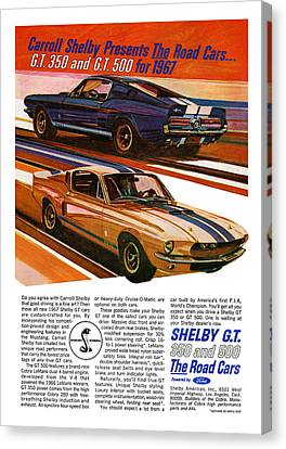 Gratiot Canvas Print - 1967 Ford Mustang Shelby Gt350 And Gt500 by Digital Repro Depot