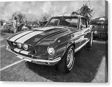 1967 Ford Shelby Mustang Gt500 Painted Bw Canvas Print by Rich Franco