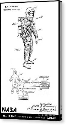 1967 Nasa Astronaut Ventilated Space Suit Patent Art 3 Canvas Print by Nishanth Gopinathan