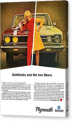 1967 Plymouth Gtx - Goldilocks And The Two Bears. Canvas Print by Digital Repro Depot