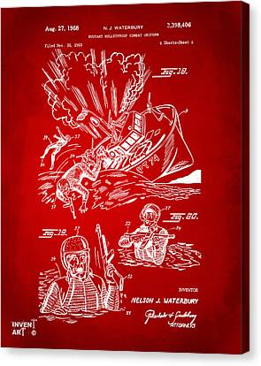 1968 Bulletproof Patent Artwork Figure 18 Red Canvas Print by Nikki Marie Smith