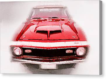 1968 Chevy Camaro Front End Watercolor Canvas Print by Naxart Studio