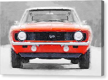 1968 Chevy Camaro Ss Watercolor Canvas Print by Naxart Studio