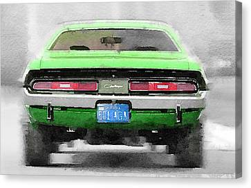 1968 Dodge Challenger Rear Watercolor Canvas Print by Naxart Studio