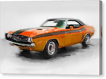 1968 Dodge Challenger Watercolor Canvas Print by Naxart Studio