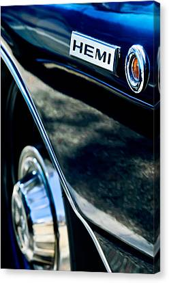 1968 Dodge Charger Rt Coupe 426 Hemi Upgrade Emblem Canvas Print by Jill Reger