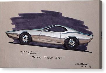 1968 E-body Barracuda   Plymouth Vintage Styling Design Concept Rendering Sketch Canvas Print