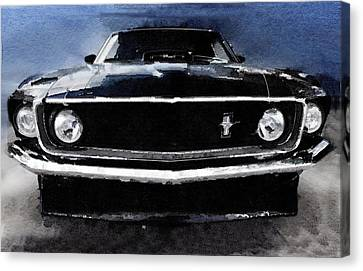 1968 Ford Mustang Shelby Front Watercolor Canvas Print by Naxart Studio
