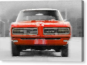 1968 Pontiac Gto Front Watercolor Canvas Print by Naxart Studio