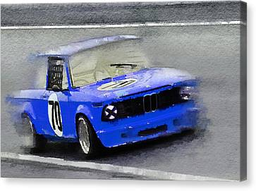 Bmw Vintage Cars Canvas Print - 1969 Bmw 2002 Racing Watercolor by Naxart Studio