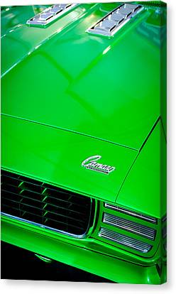 1969 Chevrolet Camaro 396 Rs Ss L89 Hood Emblem Canvas Print by Jill Reger