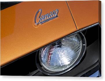 1969 Chevrolet Camaro Headlight Emblem Canvas Print by Jill Reger
