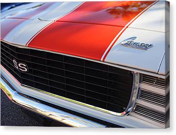 1969 Chevrolet Camaro Rs-ss Indy Pace Car Replica Grille - Hood Emblems Canvas Print by Jill Reger