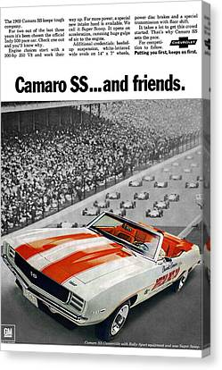 1969 Chevrolet Camaro Ss Indy 500 Pace Car Ad Canvas Print by Digital Repro Depot