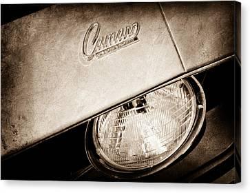 1969 Chevrolet Camero Head Light Emblem Canvas Print by Jill Reger