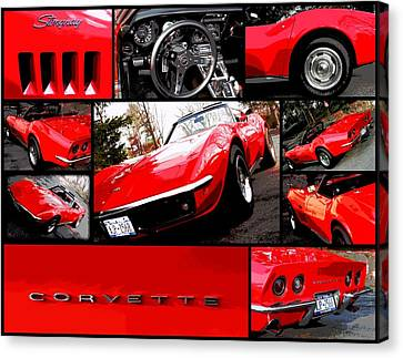 1969 Chevrolet Corvette Stingray Pop Art Collage 1 Canvas Print by Aurelio Zucco