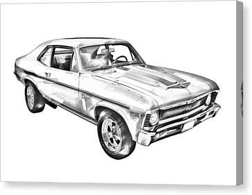 1969 Chevrolet Nova Yenko 427 Muscle Car Illustration Canvas Print by Keith Webber Jr