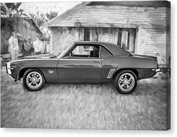 1969 Chevy Camaro Rs 396 Painted Bw Canvas Print by Rich Franco