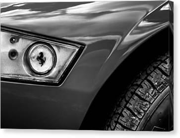 1969 Ferrari 365 Gtb-4 Daytona Headlight Emblem -0339bw Canvas Print