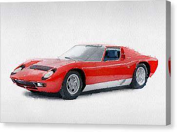 1969 Lamborghini Miura P400 S Watercolor Canvas Print by Naxart Studio