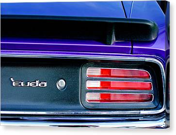1969 Plymouth Barracuda - Cuda Emblem - Taillight Canvas Print by Jill Reger