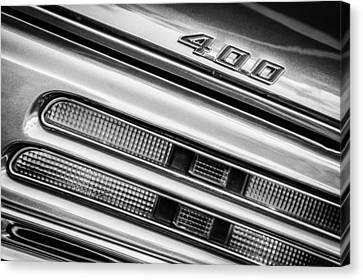 1969 Pontiac 400 Firebird Convertible Taillight Emblem -0029bw Canvas Print by Jill Reger