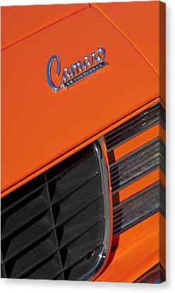 1969 Rs-ss Chevrolet Camaro Grille Emblem Canvas Print by Jill Reger