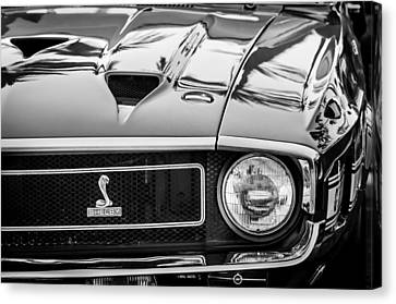 1969 Shelby Cobra Gt500 Front End - Grille Emblem -0202bw Canvas Print by Jill Reger