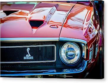 1969 Shelby Cobra Gt500 Front End - Grille Emblem -0202c Canvas Print by Jill Reger
