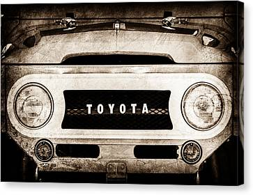 Cruiser Canvas Print - 1969 Toyota Fj-40 Land Cruiser Grille Emblem -0444s by Jill Reger