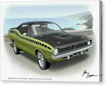 Virgil Canvas Print - 1970 Barracuda Aar Cuda Muscle Car Sketch Rendering by John Samsen
