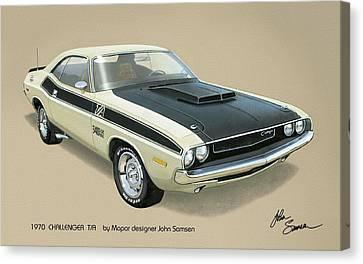 1970 Challenger T-a Dodge Muscle Car Classic Canvas Print by John Samsen