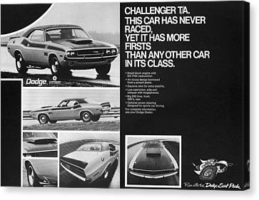 1970 Dodge Challenger T/a Canvas Print by Digital Repro Depot