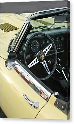 1970 Jaguar Xk Type-e Steering Wheel Canvas Print by Jill Reger