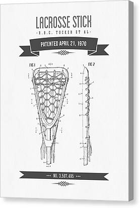 1970 Lacrosse Stick Patent Drawing - Retro Gray Canvas Print by Aged Pixel