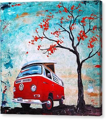 1970 Red Volkswagen Camper Bus Canvas Print by Sheri Wiseman