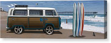 1970 Vw Bus Woody Canvas Print by Mike McGlothlen