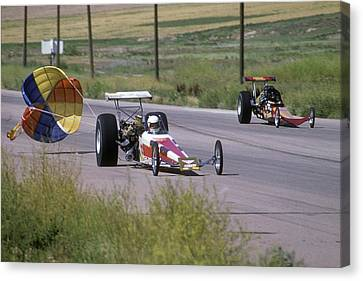 Drag Racing Canvas Print - 1970s 1980s Drag Race Two Alcohol by Vintage Images
